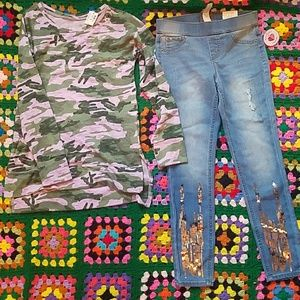BNWT Justice leggings and camo shirt size 8